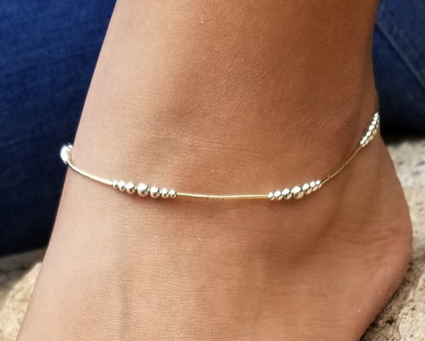 Tube & Ball Combo Anklet (14K Gold-Fill & Sterling Silver)