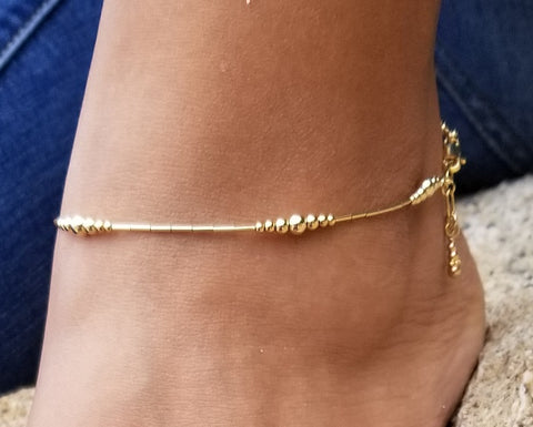 Tube & Ball Anklet (14K Gold-Fill)