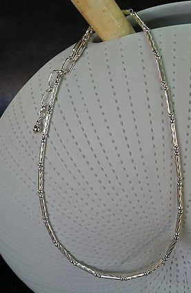 Twisted Tube & Ball Anklet (Sterling Silver)