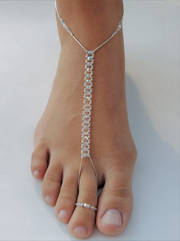 Crystal Swarovski AB Crystal & Sterling Silver Foot Jewel