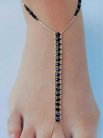 Black Swarovski Crystal & 14K Gold-Fill Foot Jewel
