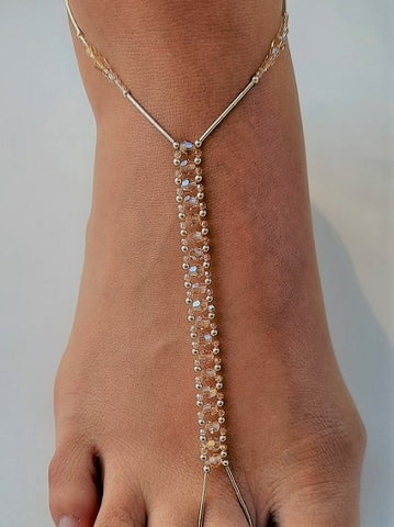 Golden Shadows Swarovski Crystal & Sterling Silver Foot Jewel