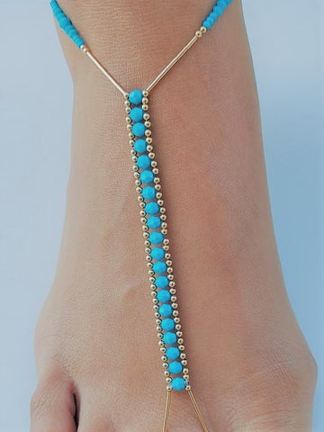 Turquoise Crystal & 14K Gold-Fill Foot Jewel