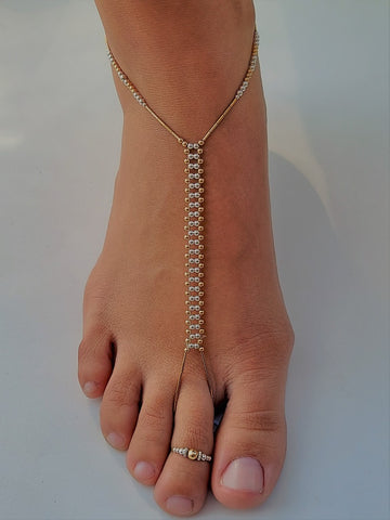 Solid  Mixed Sterling Silver & 14K Gold-Fill Foot Jewelry