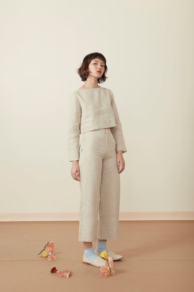 FOLDED WIDE-LEG TROUSERS