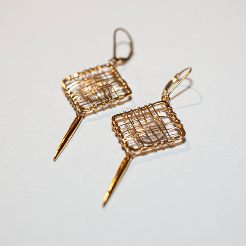 CAGED PEARL EARRINGS - SPIKE