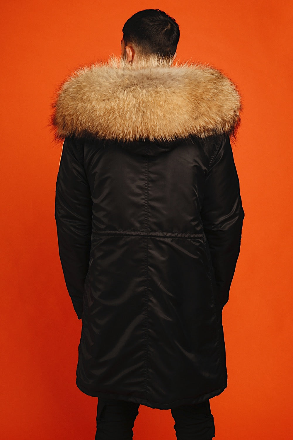 FAUX BLACK NATURAL PARKA