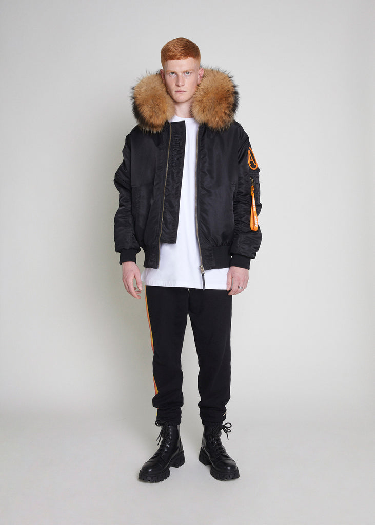 BOMBER JACKET - BLACK/NATURAL