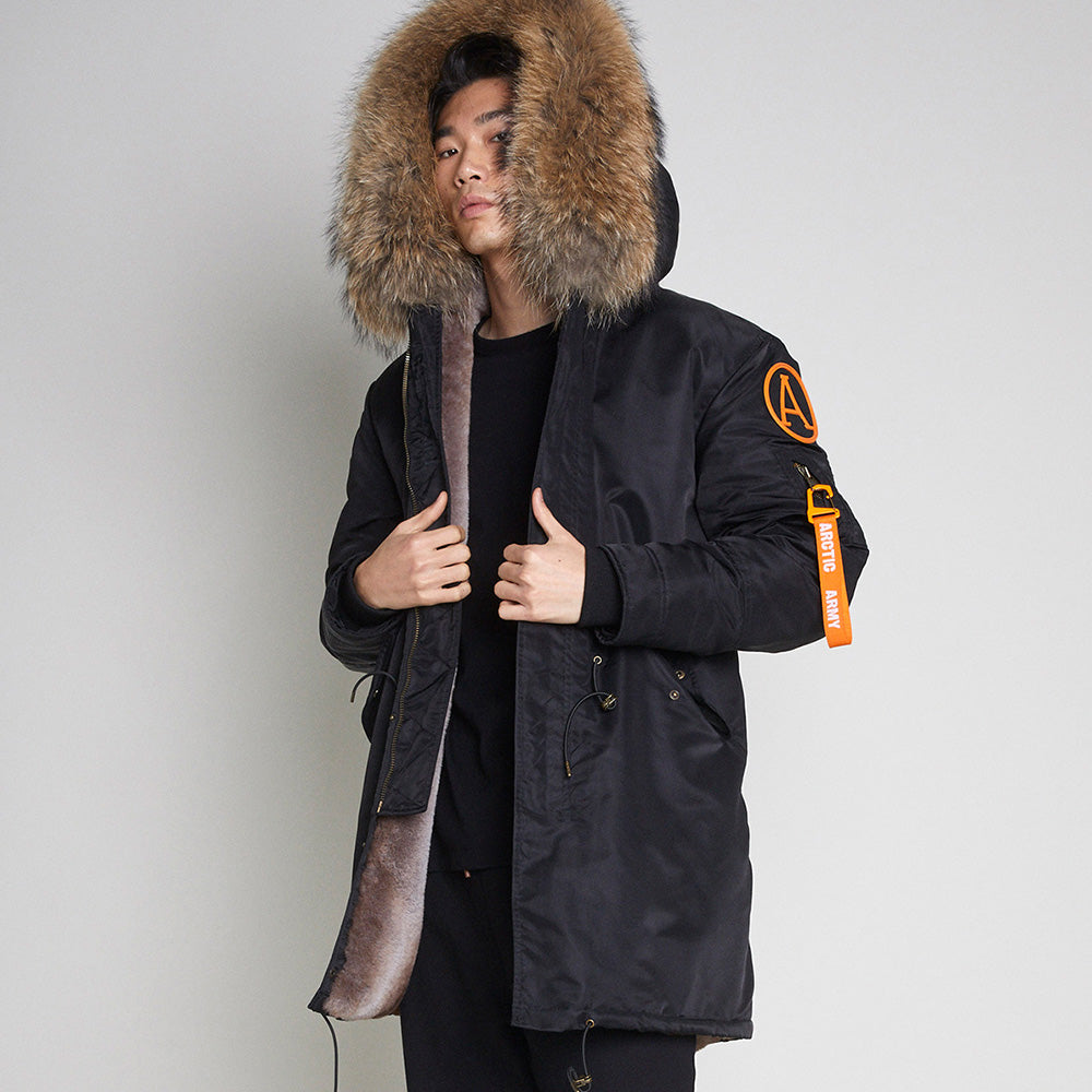 PARKA COAT - BLACK/NATURAL