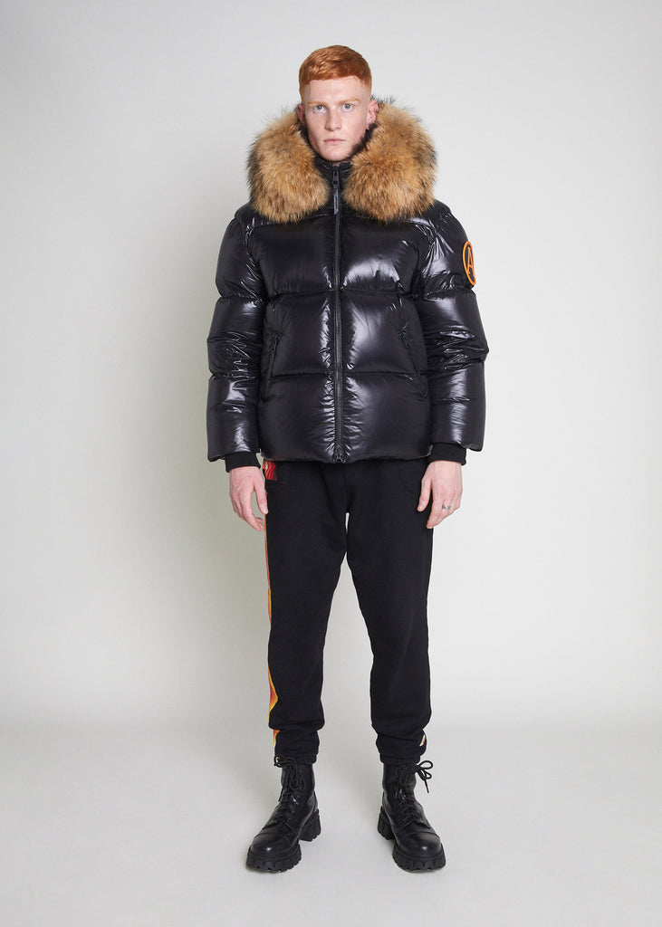 PUFFER JACKET WITH FUR - BLACK MATTE GLOSS