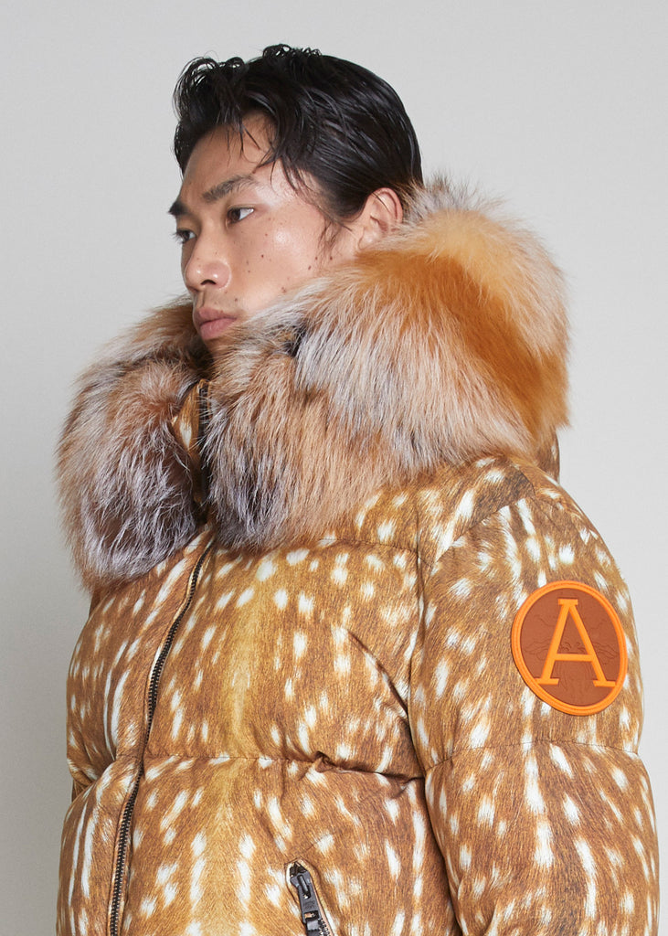 PUFFER JACKET WITH FUR - ARCTIC DOE