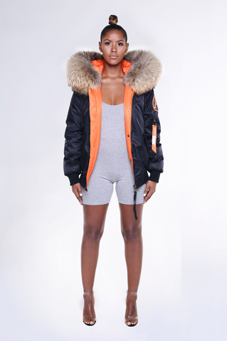 ARCTIC FLIGHT BOMBER - BLACK / NATURAL LADIES
