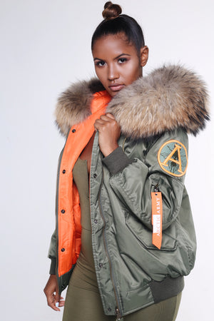 ARCTIC FLIGHT BOMBER - GREEN / NATURAL LADIES