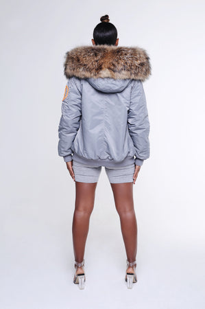 FAUX ARCTIC CLASSIC BOMBER - GREY / NATURAL LADIES