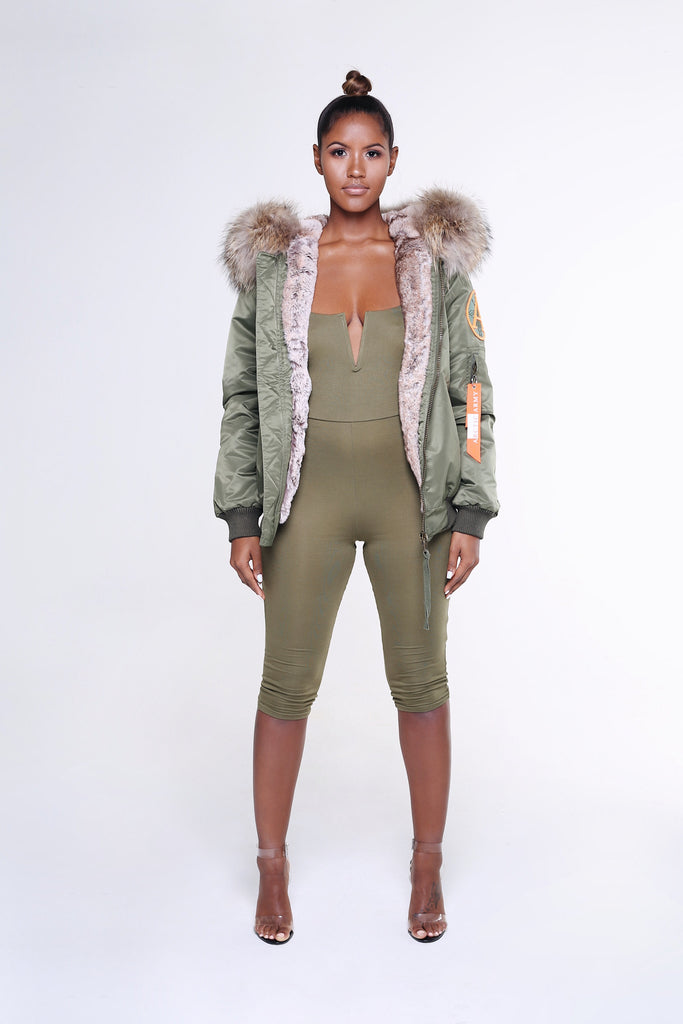 FAUX ARCTIC CLASSIC BOMBER - GREEN / NATURAL
