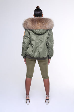 FAUX ARCTIC CLASSIC BOMBER - GREEN / NATURAL LADIES