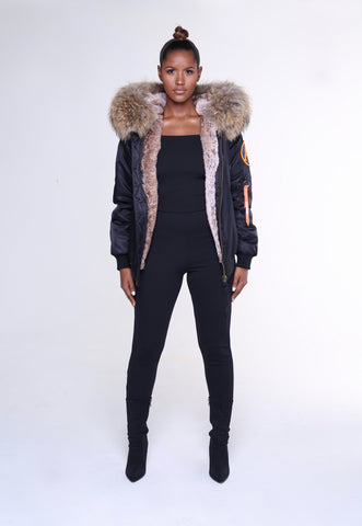 FAUX ARCTIC CLASSIC BOMBER - BLACK / NATURAL LADIES
