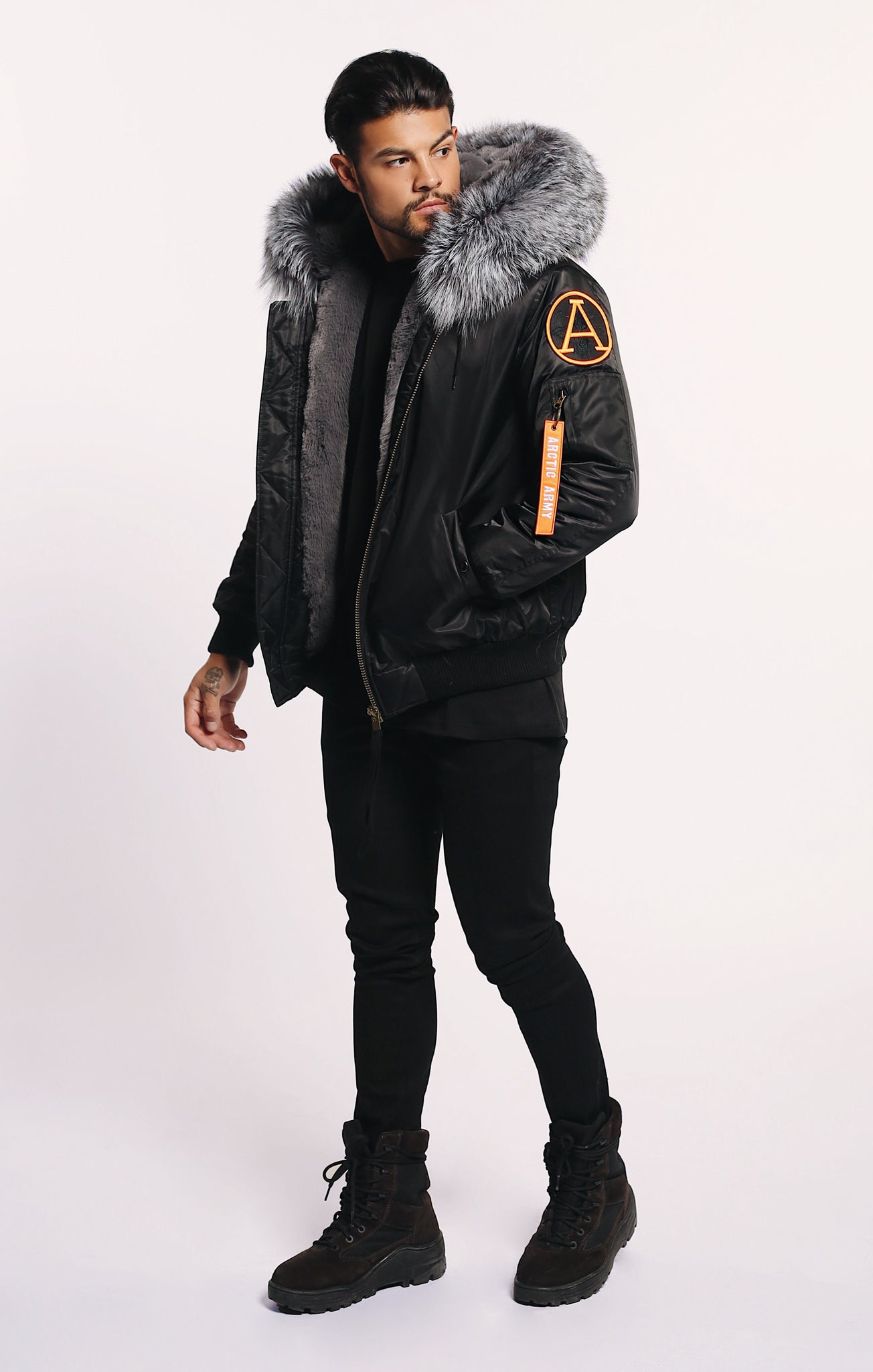 SALE! 30% OFF! WAS £595 ARCTIC CLASSIC BOMBER - BLACK / SILVER FOX- MEN'S