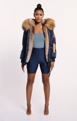 FAUX ARCTIC CLASSIC BOMBER - NAVY/ NATURAL LADIES