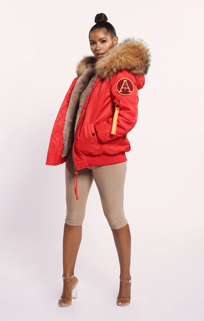 FAUX ARCTIC CLASSIC BOMBER - RED/ NATURAL