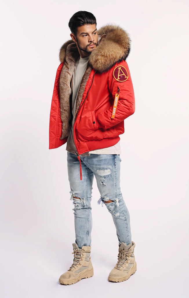 SALE! 30% OFF! WAS £495 FAUX ARCTIC CLASSIC BOMBER -RED/ NATURAL - MEN'S