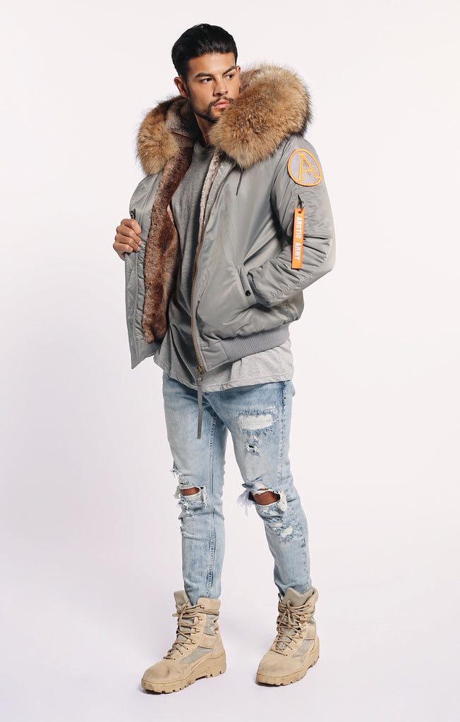 SALE! 30% OFF! WAS £495 FAUX ARCTIC CLASSIC BOMBER - GREY/NATURAL - MEN'S