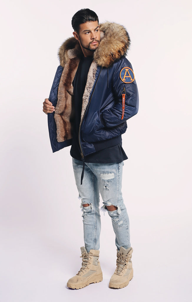 SALE! 30% OFF! WAS £495 FAUX ARCTIC CLASSIC BOMBER - NAVY/NATURAL - MEN'S