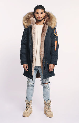 FAUX ARCTIC CLASSIC PARKA MID LENGTH - NAVY/ NATURAL - MEN'S
