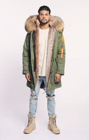 FAUX ARCTIC CLASSIC PARKA MID LENGTH - GREEN / NATURAL - MEN'S
