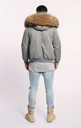 FAUX ARCTIC CLASSIC BOMBER - GREY/NATURAL - MEN'S