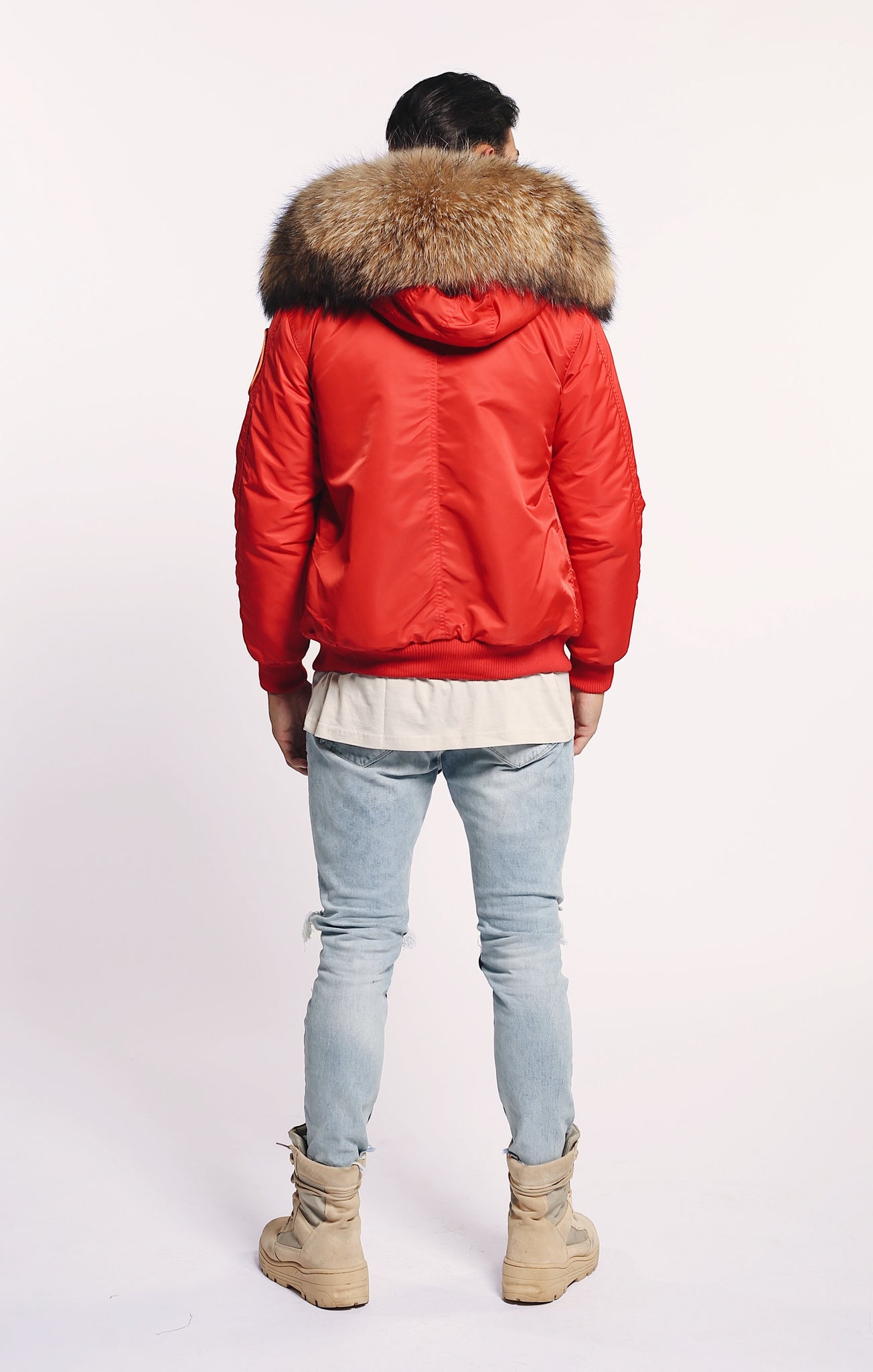 FAUX ARCTIC CLASSIC BOMBER -RED/ NATURAL - MEN'S