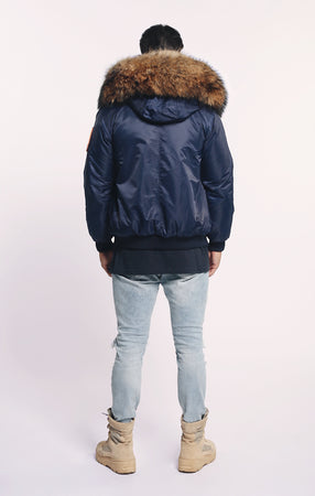 FAUX ARCTIC CLASSIC BOMBER - NAVY/NATURAL - MEN'S