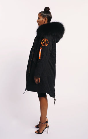 FAUX ARCTIC PARKA MID LENGTH - BLACK/ BLACK LADIES