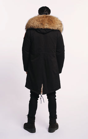 FAUX ARCTIC CLASSIC PARKA MID LENGTH - BLACK/ NATURAL - MEN'S