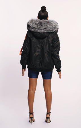 ARCTIC CLASSIC BOMBER - BLACK / SILVER FOX LADIES