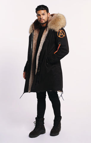ARCTIC CLASSIC PARKA MID LENGTH - BLACK/ NATURAL - MEN'S