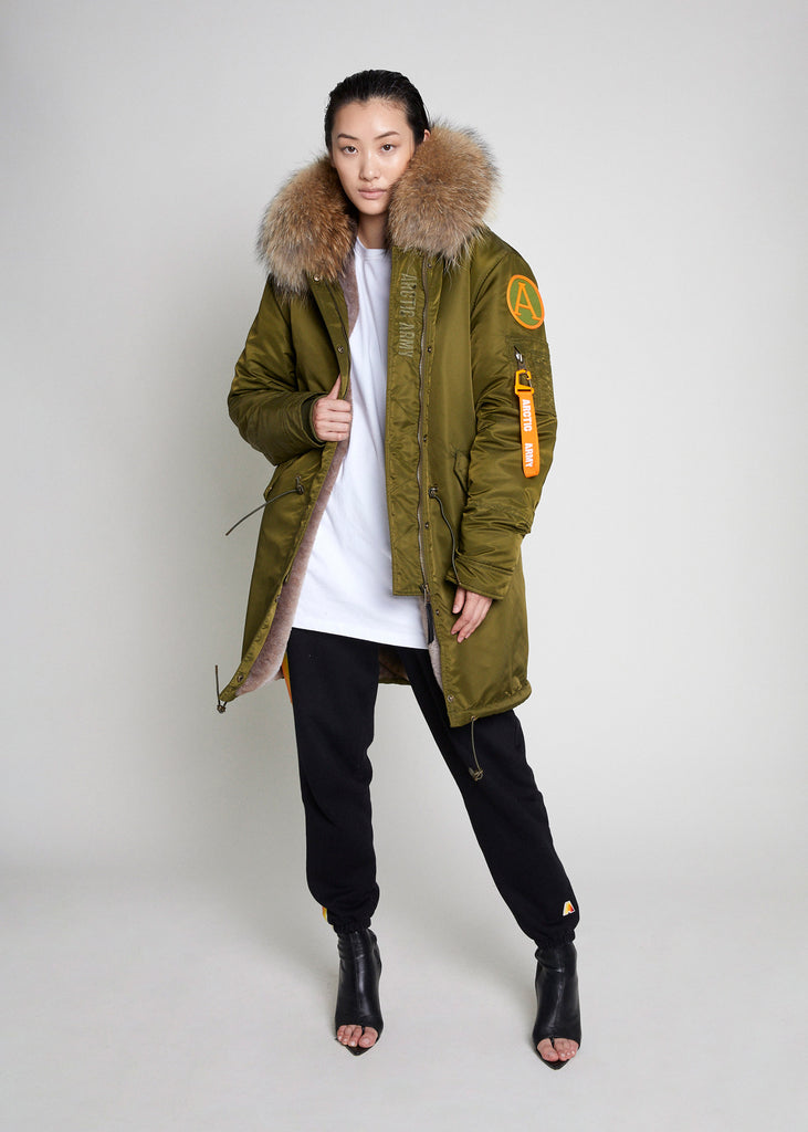 PARKA COAT - KHAKI/NATURAL