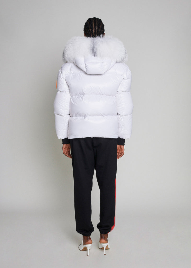 PUFFER JACKET WITH FUR - WHITE MATTE GLOSS