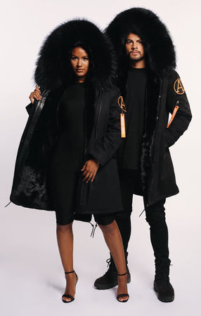 ARCTIC PARKA MID LENGTH - BLACK/ BLACK LADIES