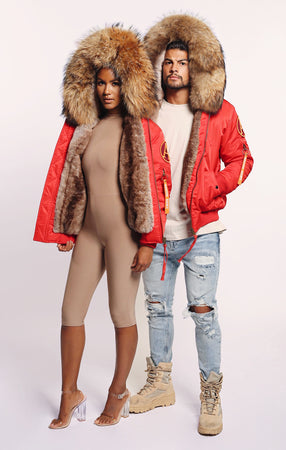 FAUX ARCTIC CLASSIC BOMBER - RED/ NATURAL LADIES