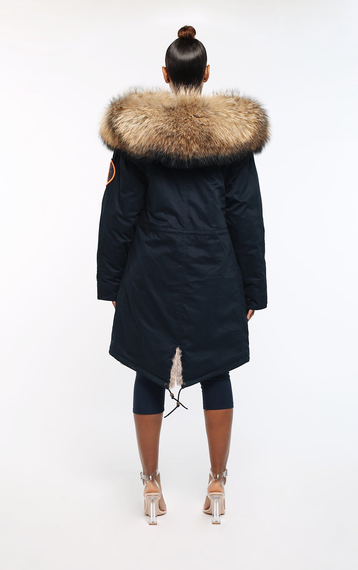 FAUX ARCTIC PARKA MID LENGTH - NAVY/ NATURAL LADIES