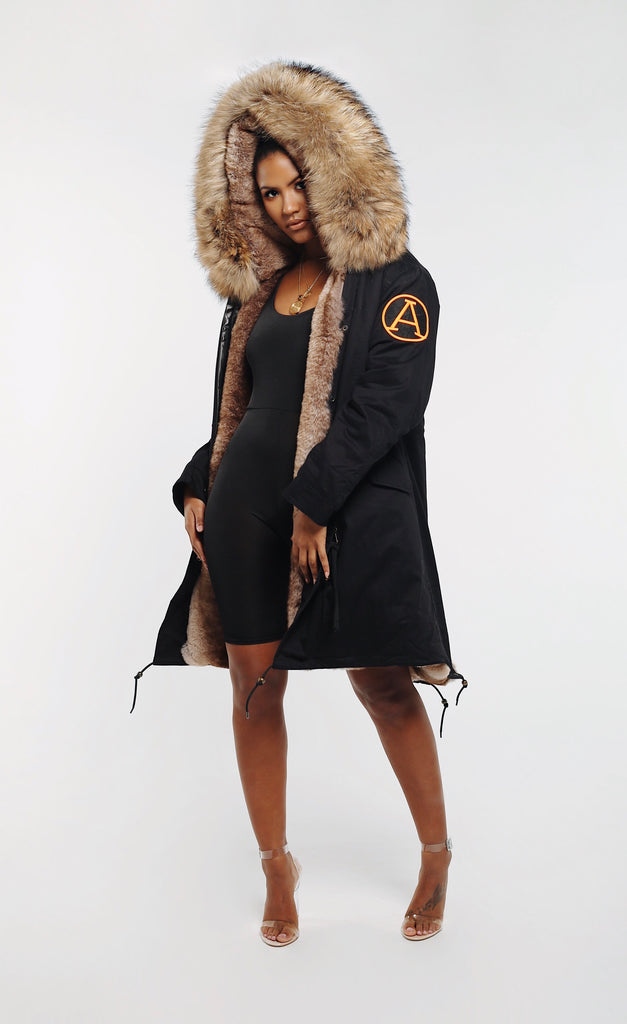 FAUX ARCTIC PARKA MID LENGTH - BLACK/ NATURAL