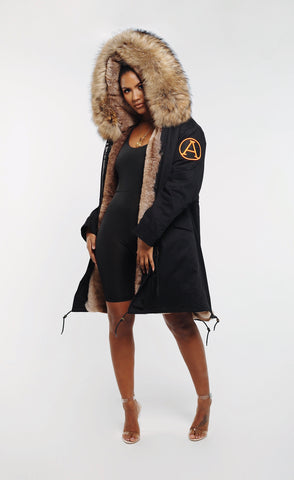 FAUX ARCTIC PARKA MID LENGTH - BLACK/ NATURAL LADIES