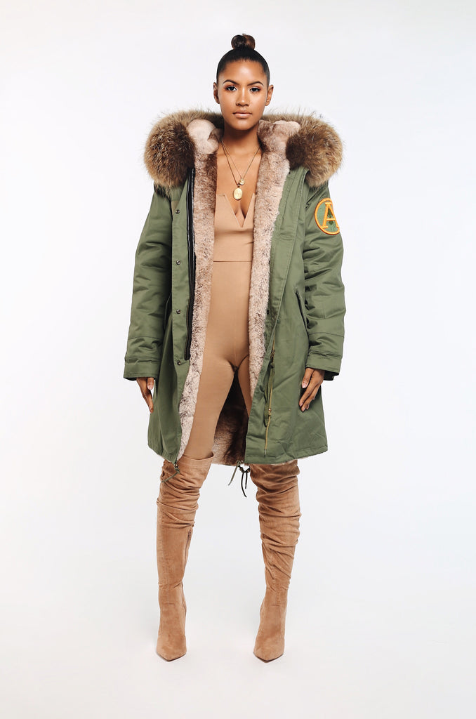 FAUX ARCTIC PARKA MID LENGTH - KHAKI/ NATURAL