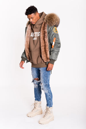FAUX ARCTIC CLASSIC BOMBER - GREEN / NATURAL - MEN'S