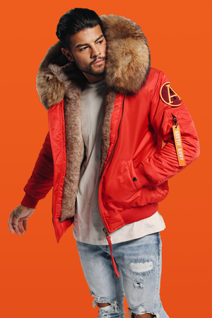 FAUX RED BOMBER