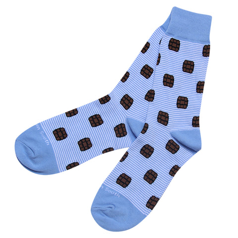 Light Blue Bourbon Stripe Socks - Barrel Down South