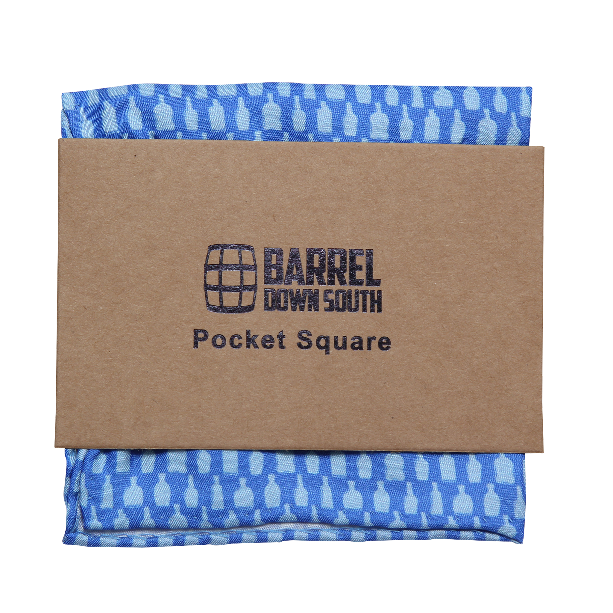 Bottled Up Blue Pocket Square - Barrel Down South