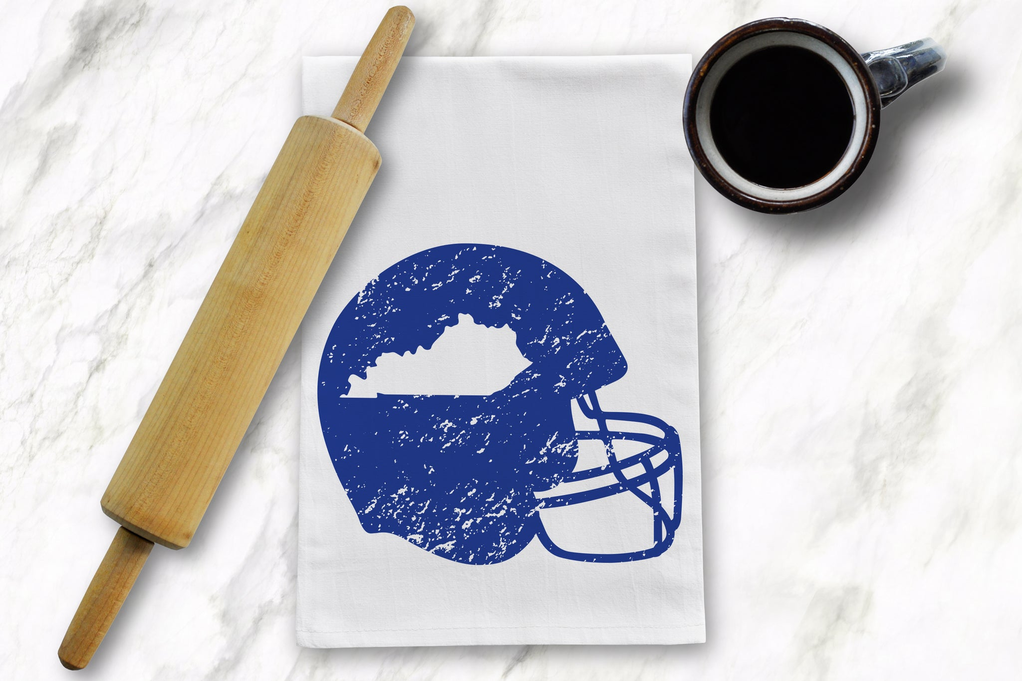 Blue KY Helmet Tea Towel - Barrel Down South