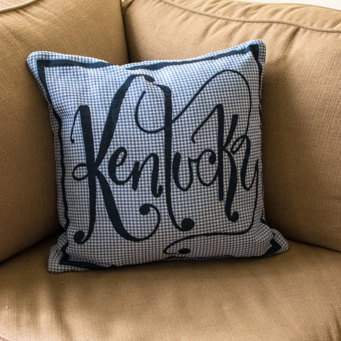 Blue Plaid Kentucky Word Pillow - Barrel Down South